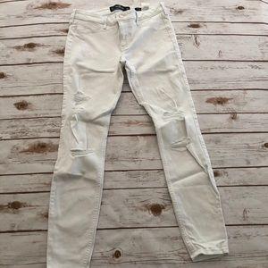 EUC Hollister WHITE Low Rise Jean Leggings 7R